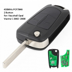 Folding Remote Key 2 Button 433MHz PCF7946 for Vauxhall Opel VECTRA C ,SIGNUM