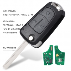 Replacement Flip 3 Buttons Remote Key Fob ASK 315MHz/433MHz PCF7946 for Vauxhall/Opel Vectra C,Signum 2003-2007 Uncut HU100 blade